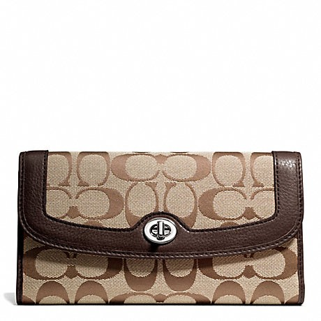 coach outlet purses on sale 06yj  Coach F49145 Park Signature Turnlock Checkbook Wallet Khaki/Mahogany