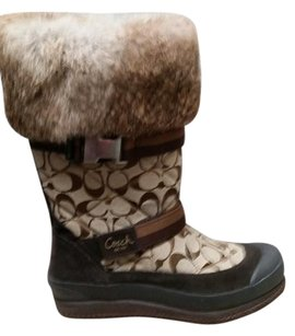 Coach Fur Monogram Logo Brown Boots