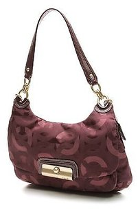 Coach Plum Signature Canvas Hobo Bag