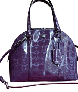 Coach Leather Rare Domed Satchel in Purple / Satin Silver