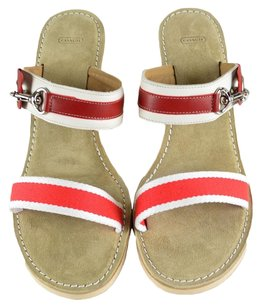 Coach Leather Suede Wedge Red White Sandals