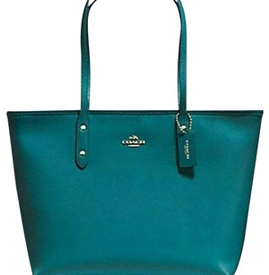Coach Leather Trendy Tote in Teal