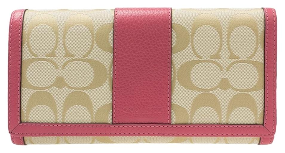 ec02a4b1a407 ... usa coach f51767 park signature checkbook wallet light khaki strawberry  256db e746f