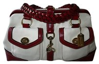 Coach Louis Vuitton Dooney Bourke Gucci Channel Rare Vintage Tote in Ivory/Off-White+Red
