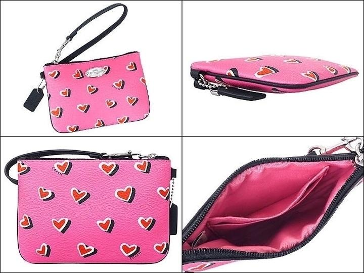 276fd0e75dc9 ... ebay coach limited edition heart print small f52560 pink multicolor  coated canvas with leather trim wristlet