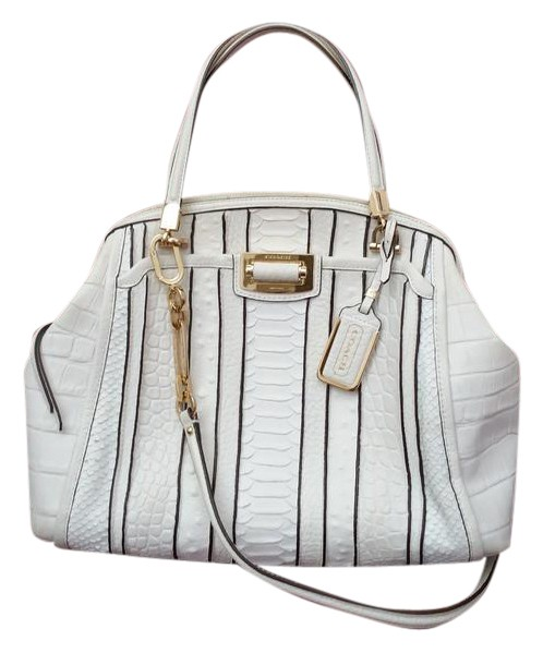 8f2ebc1640 ... sweden coach limited edition leather textured python satchel in white.  coach madison domed b83b5 98c05
