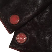 Coach Lk New Logo Long Leather Cashmere Lined Gloves