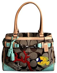Coach Louis Vuitton Dooney Gucci Hermes Vintage Satchel in Khaki, Green, Multi-Color