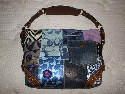 Coach Louis Vuitton Dooney Bourke Gucci Channel Rare Vintage Tote in Denim, Tobacco Brown