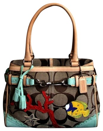 Preload https://item3.tradesy.com/images/coach-ltd-ed-fish-coral-applique-sig-med-carryall-tote-purse-wow-khaki-green-multi-color-signature-j-843532-0-0.jpg?width=440&height=440
