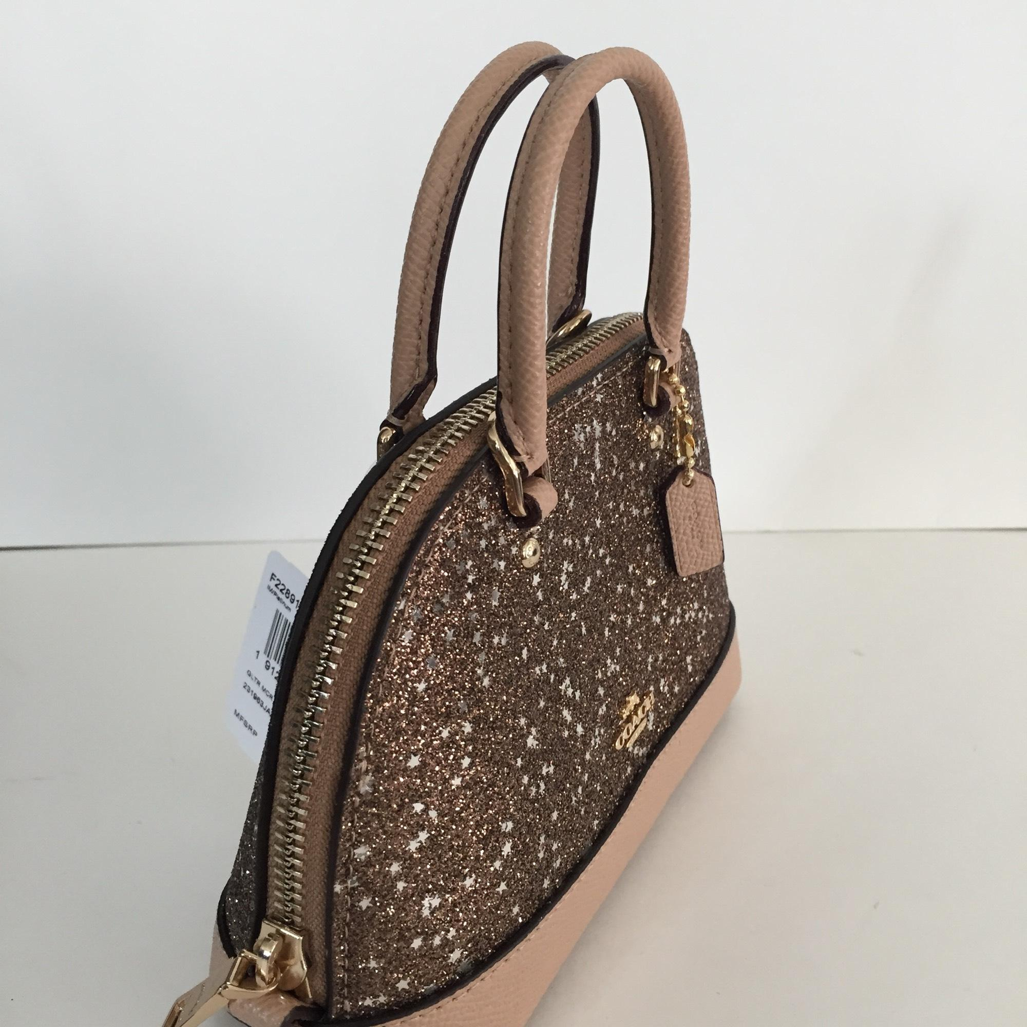 8d25274e42c1 ... top quality coach micro mini sierra satchel with star glitter light  gold canvas cross body bag