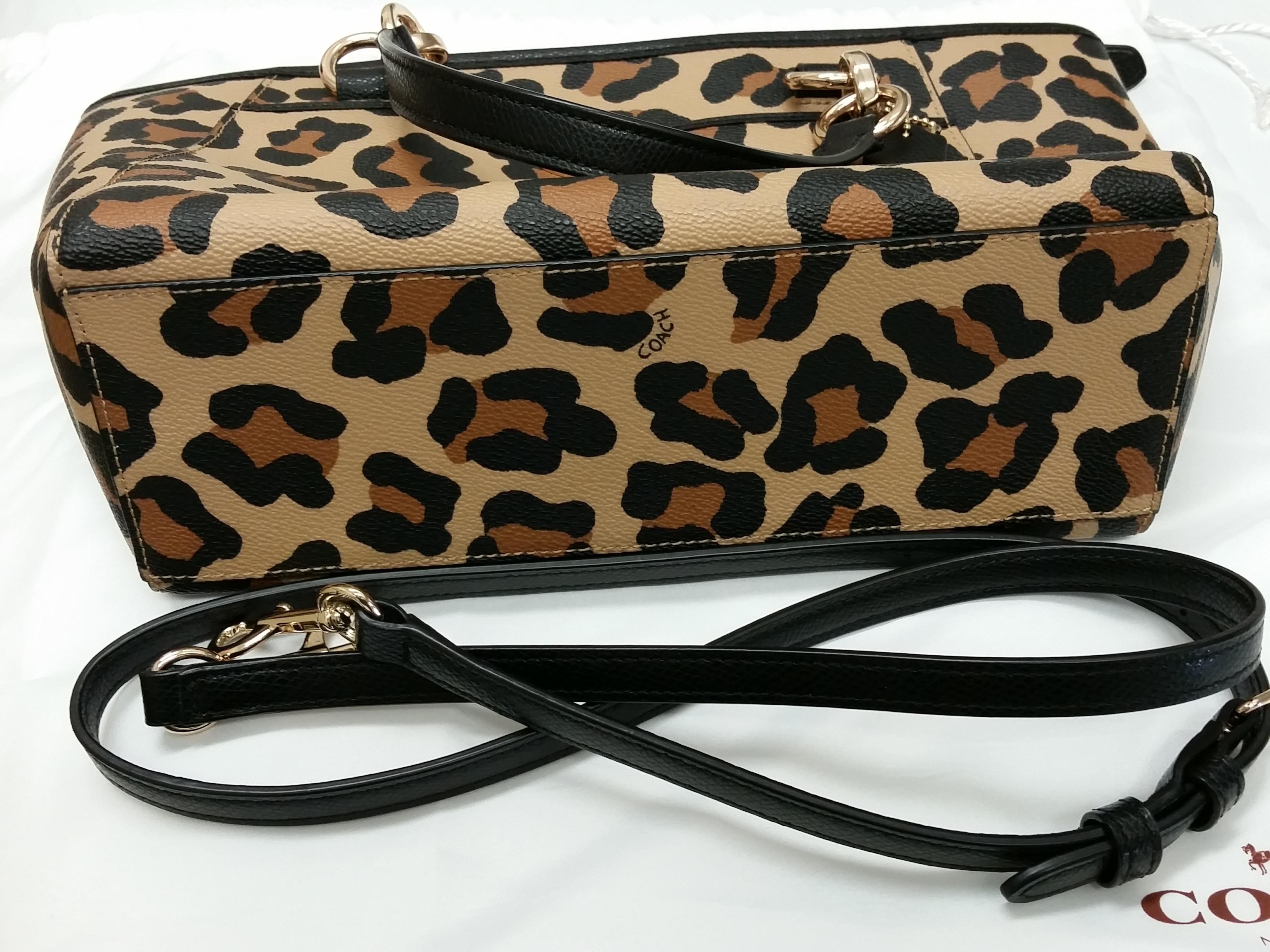 26669b62a7ef ... uk coach tan ocelot mini ellis tote coach mini mini satchel crossbody  tote in ocelot print