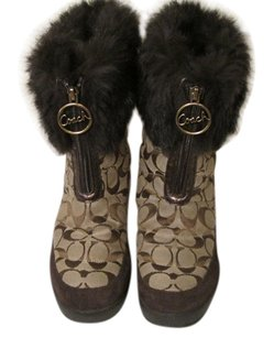 Coach Monogram Designers Name Brown Boots