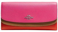 Coach New Double Flap Wallet in Colorblock Leather Dahlia Multi