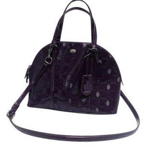 Coach Patent Leather Rare Satchel in Purple / Satin Silver