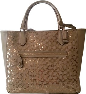 Coach Poppy Sequin Signature Satchel in Champagne