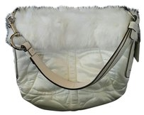 Coach Rabbit Fur Rabbit Fur Satin Hobo Bag