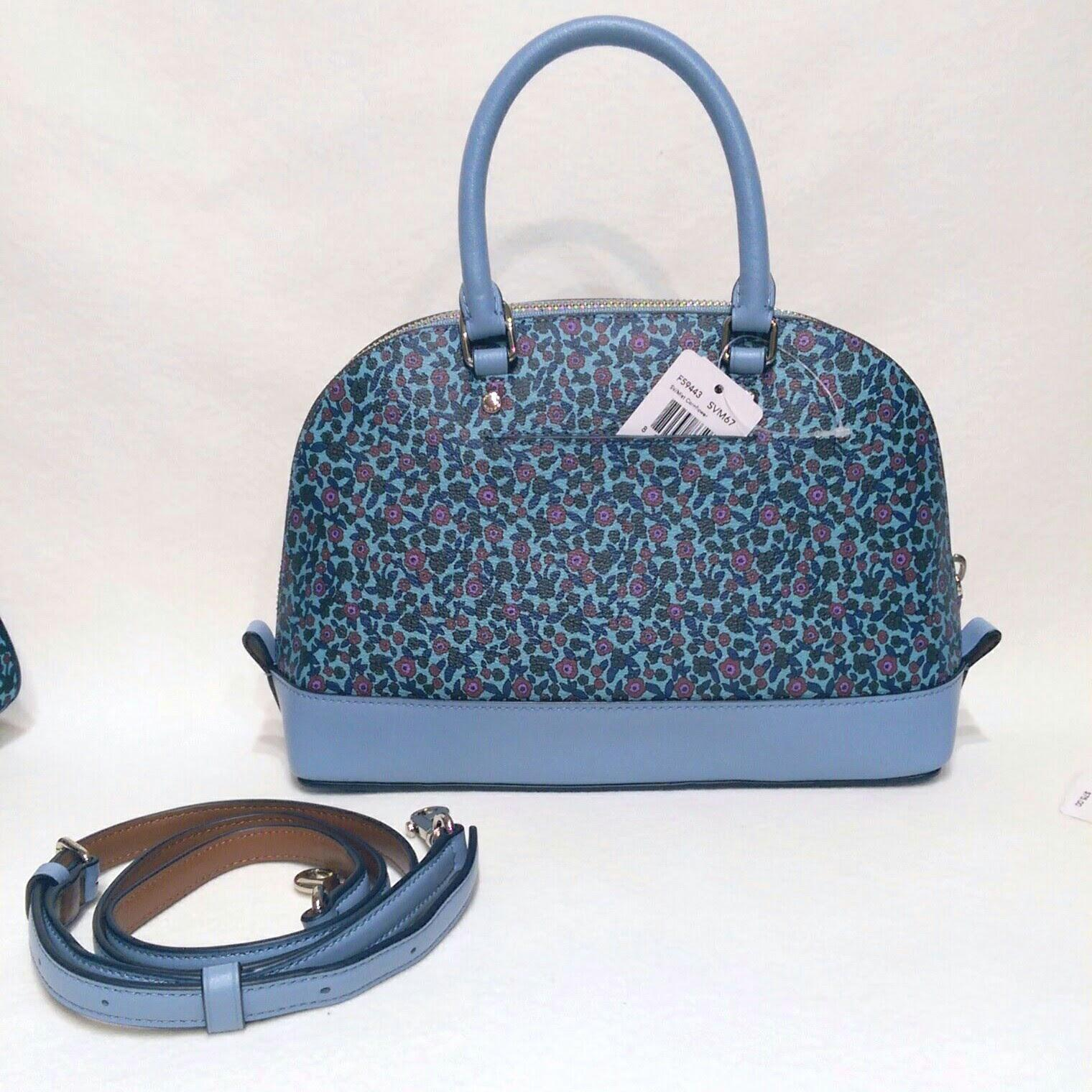 Coach Blue Floral Coated Canvas Ranch Print 3pc Small Purse Set Satchel - Tradesy