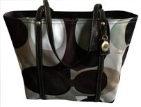 Coach Rare Scarf Print Sateen Leather Tote in OLIVE BROWN WHITE