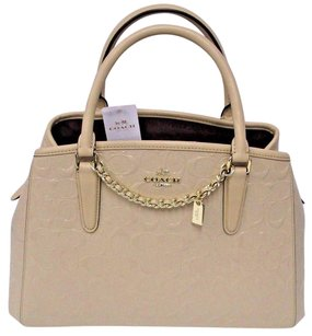 Coach Margot Signature Satchel in Beige - platinum