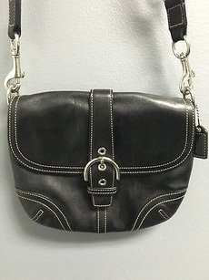 Coach Leather Top Flap Satchel in Black