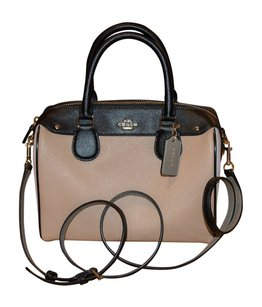 Coach Satchel in Black, White & Tan