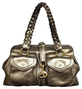 Coach K05s 9158 Gunmetal Metallic Leather Braided Strap Handle B3562 Satchel in Gunmetal Silver