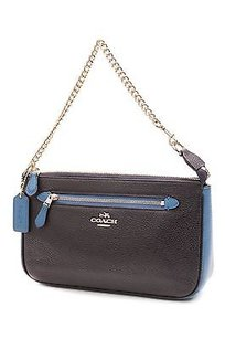 Coach Pebbled Satchel in Navy blue, turquoise