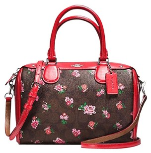 Coach Satchel in Silver / Brown Red Multi