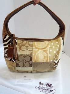 Coach 10807 Patchwork Ocelot Leopard Zebra Hobo Shoulder Bag