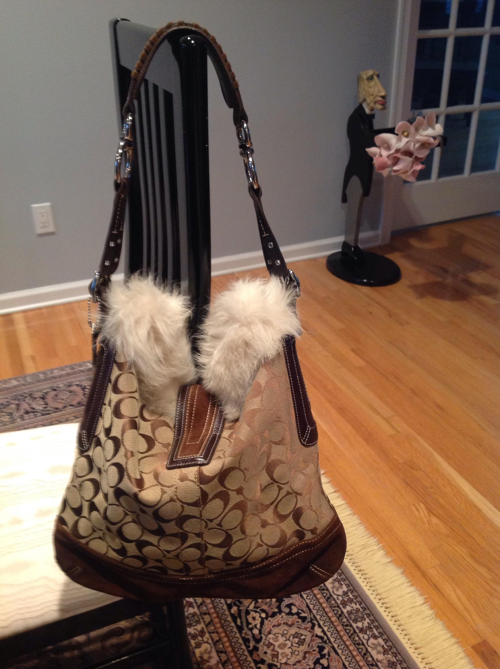 8555c6504fe0 ... coupon code for coach signature shearling large matching check wallet  brown canvas suede fur hobo bag