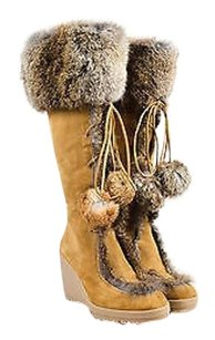 Coach Gray Suede Rabbit Tan Boots