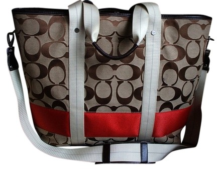 Preload https://item3.tradesy.com/images/coach-stripe-diaper-baby-brownkhaki-red-jacquard-signature-fabric-leather-weekendtravel-bag-534262-0-0.jpg?width=440&height=440