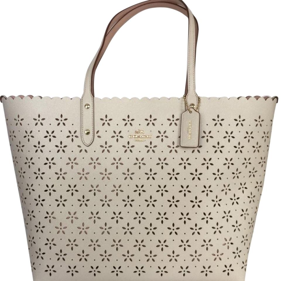 Coach Laser Cut City Glitter Leather White Tote Bag | Totes on Sale