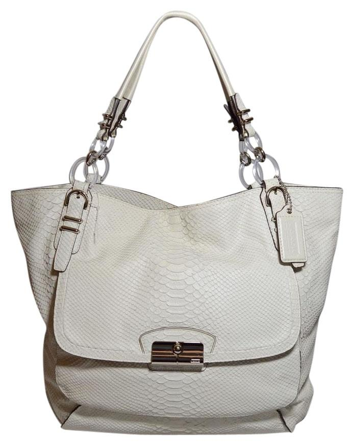 a89aef6e4a ... purchase coach python embossed leather kristin pinnacle dust tote in  white d1fc4 c8f73
