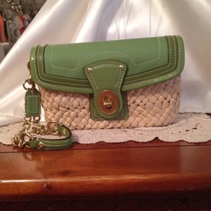 Coach Wristlet in Green And Gold