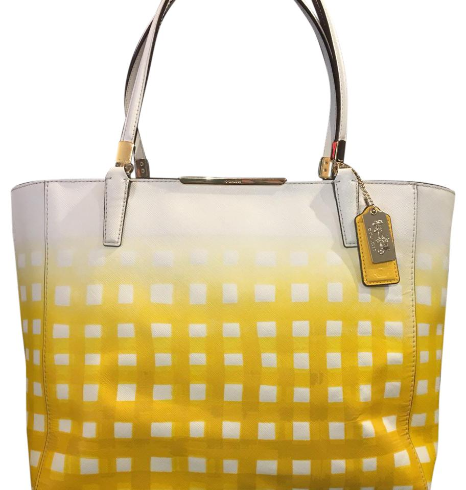 0485e08426 ... free shipping coach tote in yellow white 72cf2 6bcd8
