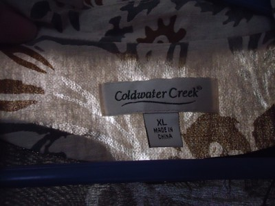Coldwater Creek Cream gold metallic embroidered jacket