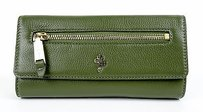 Cole Haan Cole Haan Womens Fern Green Leather Jitney Ii Envelope Clutch Wallet