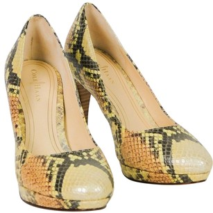 Cole Haan Embossed Snake Print Nike Leather Chelsea Yellow Pumps