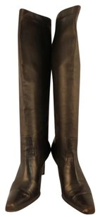 Cole Haan Womens Knee High Leather Textile Brown Boots