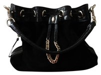 Cole Haan Leather Suede Expandable Braided Alligator Shoulder Bag