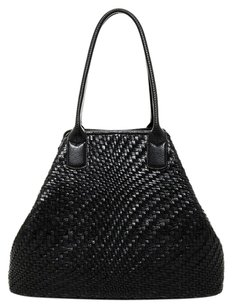 Cole Haan Leather Woven Large Foldable Tote in Black