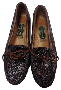 Cole Haan Tie Embossed Brown Flats