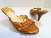 Cole Haan Nike Air Tan Leather Heels Slide B Brown Sandals