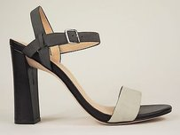 Cole Haan Minetta Grey Gray Leather Strappy Chunky Sandals Heels Ivory Pumps