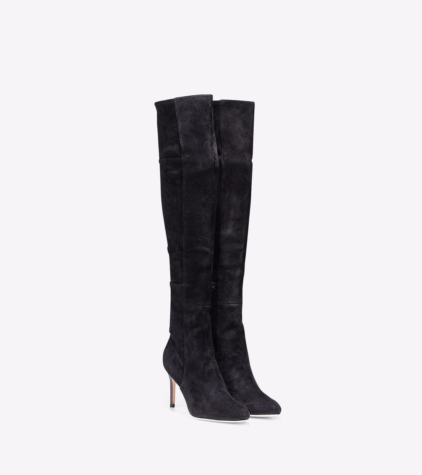 cole haan black marina suede leather the knee boots