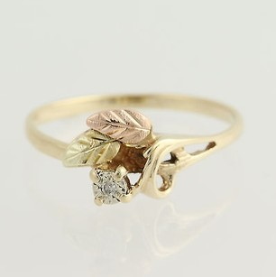 Coleman Floral Black Hills Gold Diamond Ring - 10k Yellow Rose White Green Gold Coleman