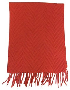 Colombo Colombo Pure 100 Cashmere Textured Scarf In Red W Fringe Ends - 64 X 34