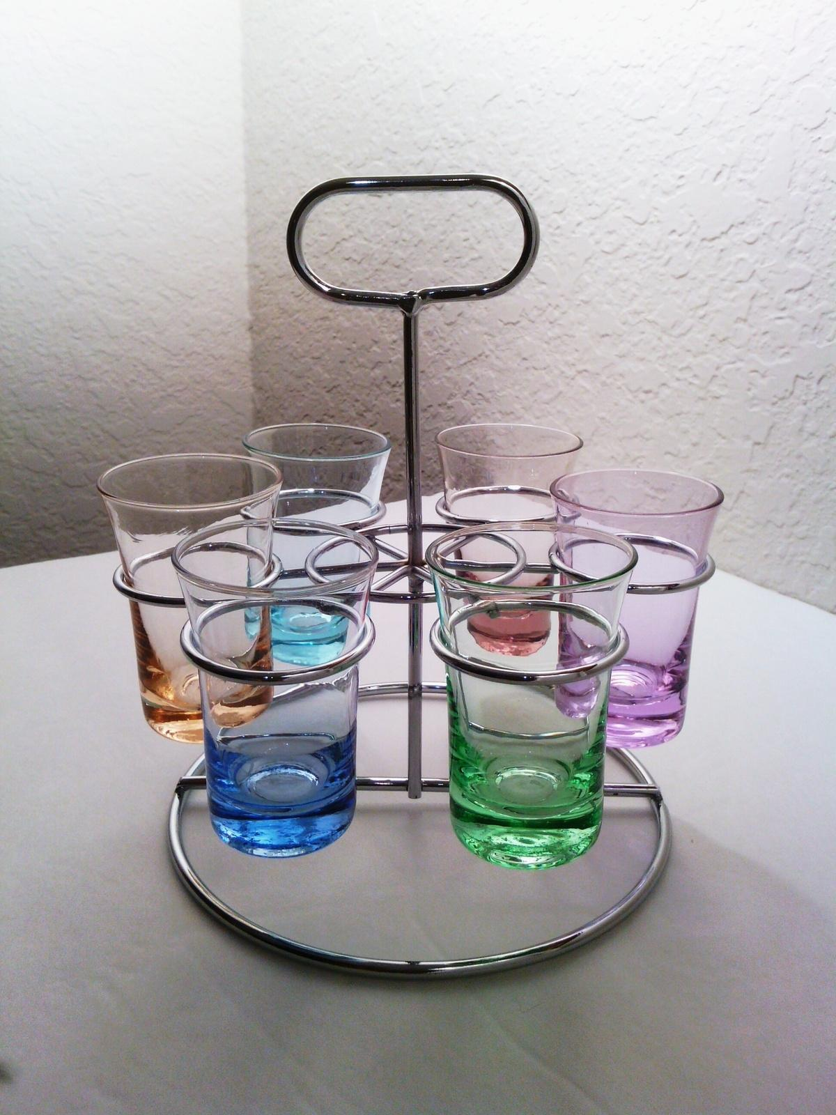 Colorful Pastels Multi Color Shot Glass Set of 6 with Silver Holder